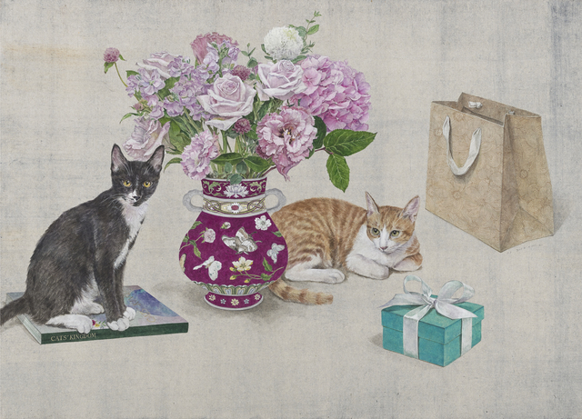 Lee Jung Eun (b. 1971), 'Happy Birthday, Mom', 2020, Drawing, Collage or other Work on Paper, Coloring on Korean paper (Jangji) 장지에 채색, Leehwaik Gallery