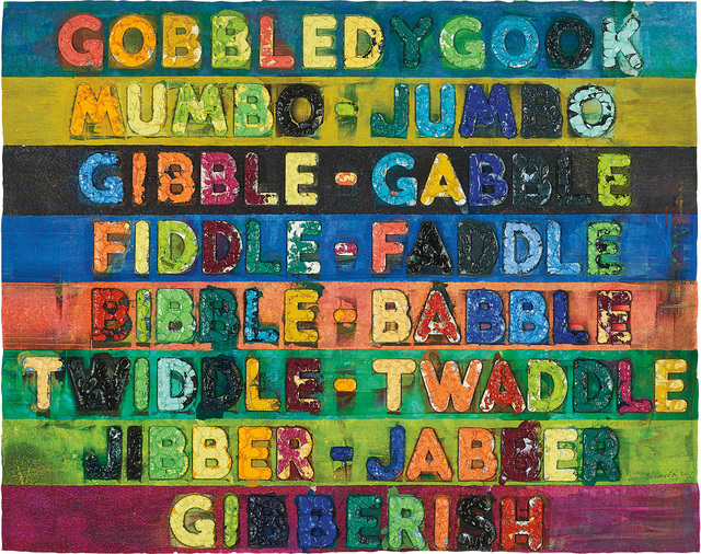 Mel Bochner, 'Gobbledygook', 2017, Print, Monoprint with collage, engraving, embossing and oil paint in colours, on handmade and hand-dyed Twinrocker paper, the full sheet., Phillips