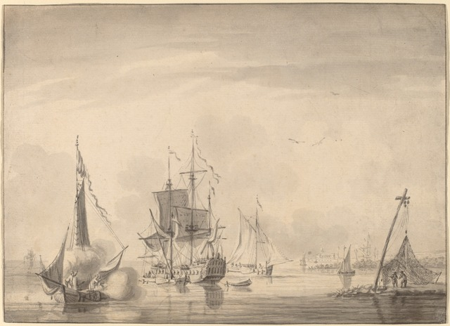 John Greenwood, 'Harbor Scene', ca. 1760, Drawing, Collage or other Work on Paper, Brush and gray ink with gray wash on laid paper, National Gallery of Art, Washington, D.C.