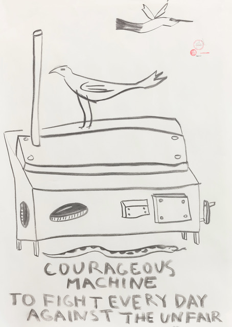 Paulo Nazareth, 'COURAGEOUS MACHINE TO FIGHT EVERYDAY AGAINST THE UNFAIR', 2019, Drawing, Collage or other Work on Paper, Charcoal on newsprint, Stevenson