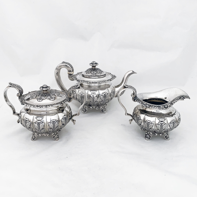 Khecheong, 'Very early Chinese Export silver tea set with pseudo ha;llmarks ', 1840, Other, Sterling silver, Esmé Parish Silver