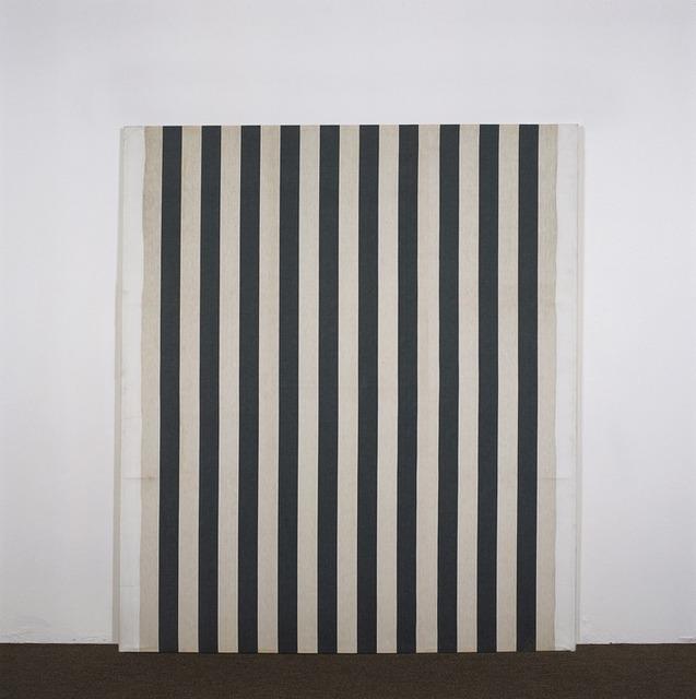 , 'Peinture acrilyque blanche sur tissu rayé blanc et gris anthracite,' 1966, Lisson Gallery