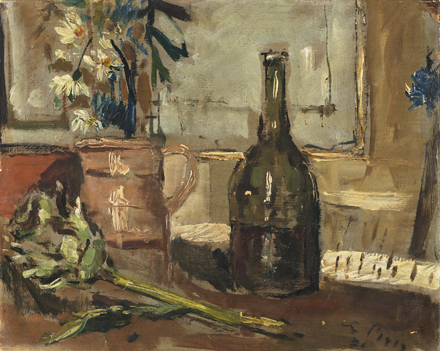 Filippo De Pisis, 'Natura morta con bottiglia e carciofo', 1931, Painting, Oil on Cardboard, Il Ponte