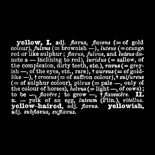 , ''Titled (A.A.I.A.I.)' [yellow] (Eng.-Latin),' 1968, Mazzoleni