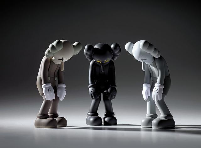 KAWS, 'Three works: (i) SMALL LIE (Brown); (ii) SMALL LIE (Black); (iii) SMALL LIE (Grey)', Sculpture, Painted vinyl, in original Medicom packaging, Phillips