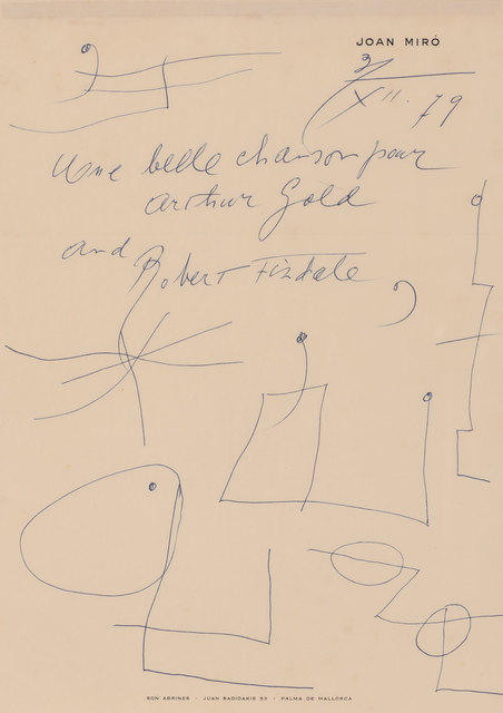 Joan Miró, 'Two letters with drawings', Doyle
