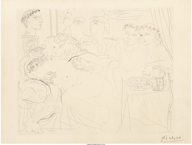 Pablo Picasso, 'Minotaure caressant une femme, pl. 84, from La Suite Vollard', 1933, Print, Etching on Montval laid paper, Heritage Auctions