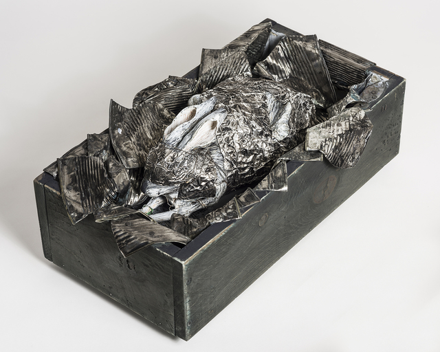 Elizabeth Jordan, 'Rabbit Sculpture with tin cans in wood box: 'What Makes A God Weep'', 2016, Ivy Brown Gallery