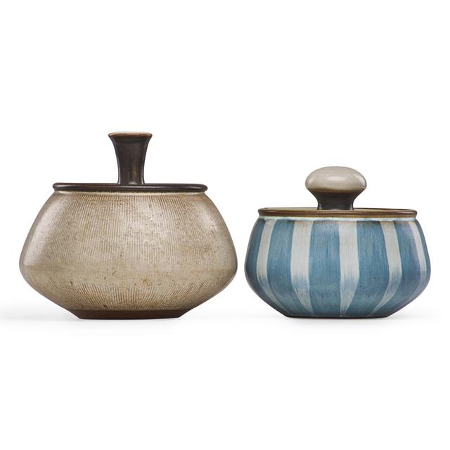 Rupert J. Deese, 'Two striped covered jars, Claremont, CA', Design/Decorative Art, Glazed stoneware, Rago/Wright