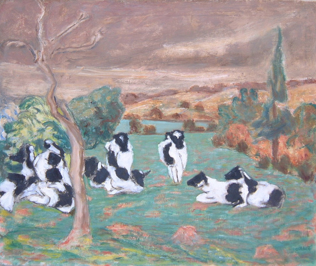 , 'Surrey Landscape with Black and White Cows,' ca. 1948, Boundary Gallery