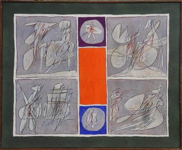 Achille Perilli, 'Visibile e Invisibile', 1963, Painting, Oil and mixed media on canvas, Galleria Tega