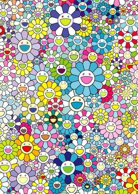 Takashi Murakami, 'Champagne Supernova: Blue', 2018, Print, Offset print with silver, Lougher Contemporary