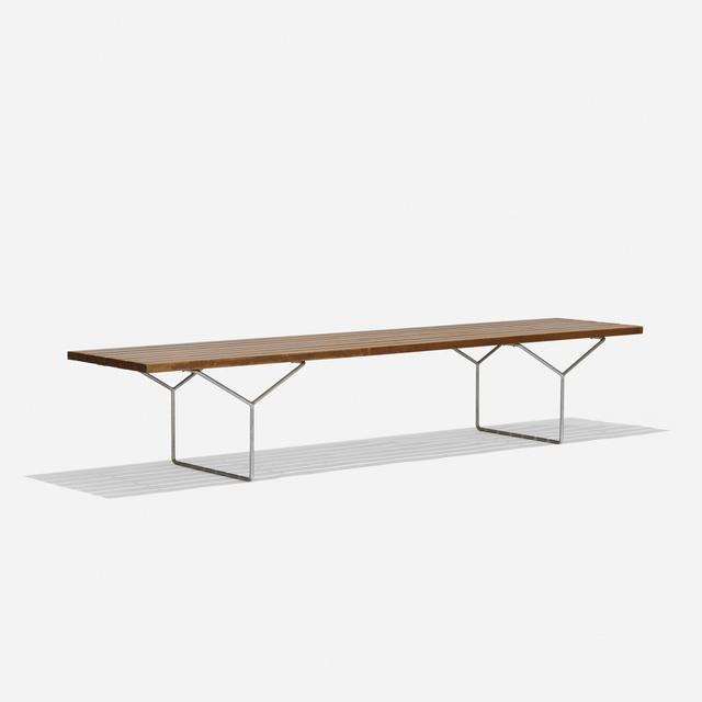 Harry Bertoia, 'bench', 1952, Design/Decorative Art, Ash, matte chrome-plated steel, Rago/Wright