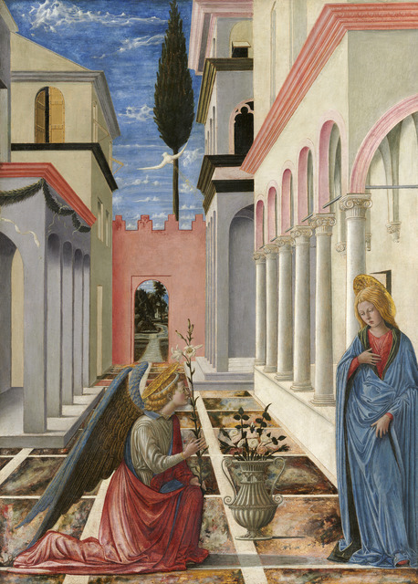 Fra Carnevale, 'The Annunciation', ca. 1445/1450, Painting, Tempera on panel, National Gallery of Art, Washington, D.C.
