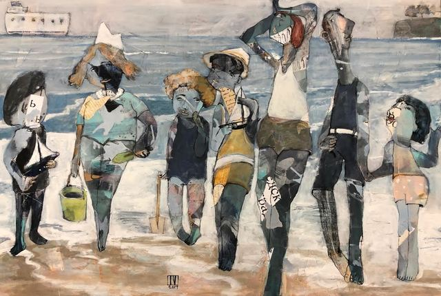 """Ilya Volykhine, '""""Oceanic Whispers"""" Abstract figurative mixed media painting of kids on the beach', 2019, Eisenhauer Gallery"""