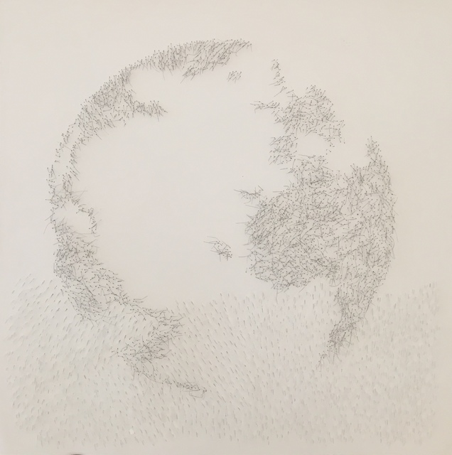 Safaa Erruas, 'Mare Nostrum III', 2018, Drawing, Collage or other Work on Paper, Metallic thread and broken cover glass on cotton paper, 50 Golborne
