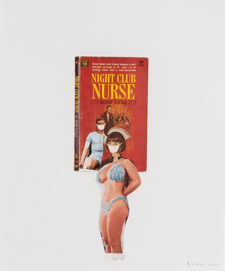 "Richard Prince ""Night Club Nurse"" 2007 Book cover, collage on paper"