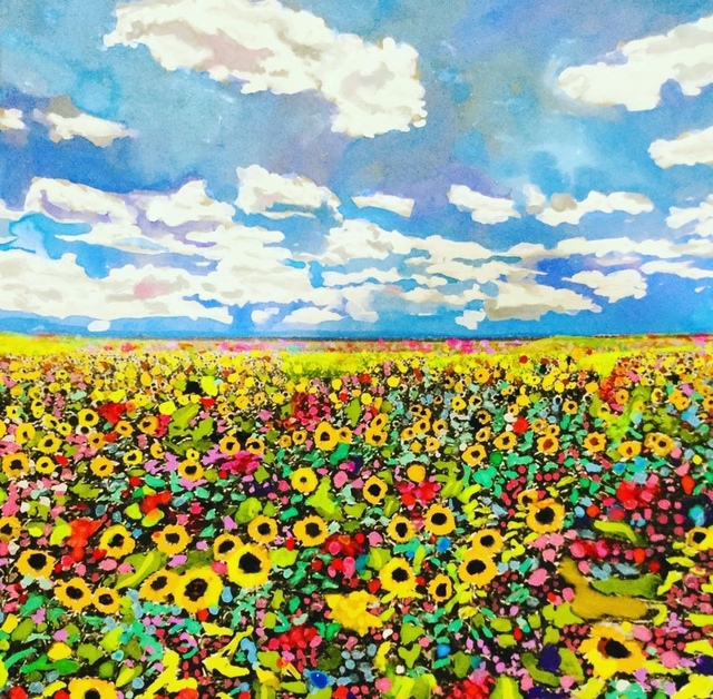 Andee Axe, 'A Bed of Flowers', 2020, Painting, Acrylic, canvas,  glitter, resin, The Illustrated Gallery