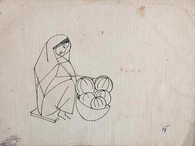 "Badri Narayan, 'Woman Fruit Seller, Ink on Paper by Modern Padmashree Artist ""In Stock""', ca. Circa, Gallery Kolkata"