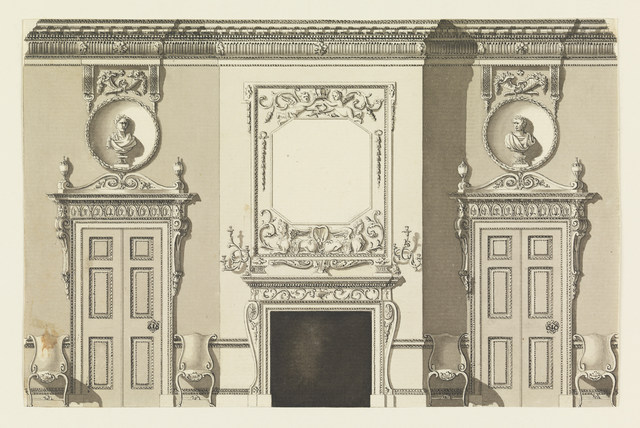 Frederick Crace, 'Wall Elevation', 1815-1822, Drawing, Collage or other Work on Paper, Pen and black ink, gray and black watercolors on laid paper., Cooper Hewitt, Smithsonian Design Museum