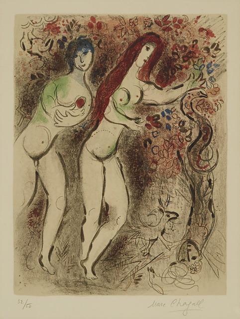 Marc Chagall, 'Adam Et Eve Et Le Fruit Defendu (From Dessins Pour La Bible)', 1960, Waddington's