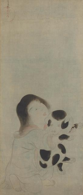Tawaraya Sōtatsu, 'A Child Holding a Spotted Puppy', 1600-1630, Painting, Ink and tint on paper, Smithsonian Freer and Sackler Galleries