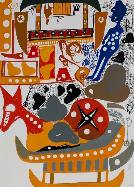 , 'Side A: Due Cavalli seduti su barche e due alpine giallo e rosso Side B: Cavallo seduto a piu colori, alpino blu,' 1967, Cavin-Morris Gallery