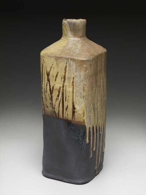 , 'Square vase, yellow glaze black slip with natural ash and brush decoration,' , Pucker Gallery