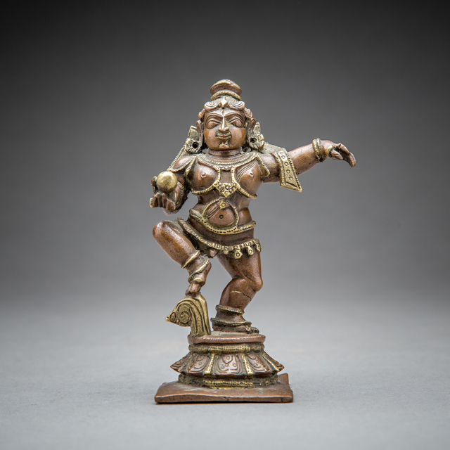 Unknown Asian, 'Brass Figure of Krishna Dancing with a Butter Ball', 1850 AD to 1900 AD, Barakat Gallery