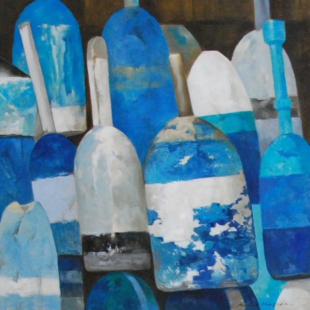 "Michel Brosseau, '""Les Bouys Bleus No. 1"" Oil Painting of Blue and White Buoys on Linen', 2010-2017, Eisenhauer Gallery"
