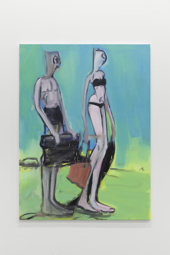 Alain Séchas - Couple Turquoise 2016 Oil on canvas