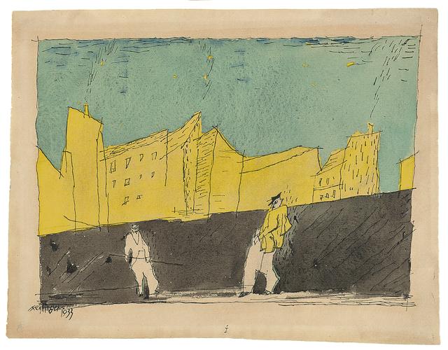 , 'Häusergruppe mit zwei Personen,' 1933, Galerie Utermann