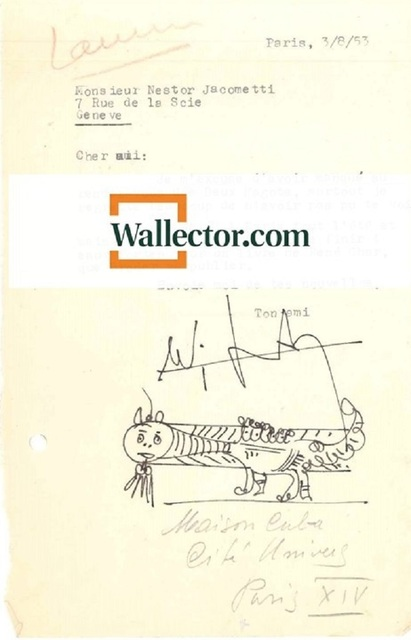 , 'Letter with Original Lam's Sketch,' 1953, Wallector