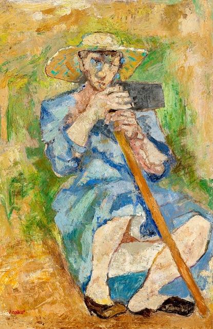 Fausto Pirandello, 'Donna con la zappa (Zappatrice stanca)', 1951, Painting, Oil on cardboard, Finarte