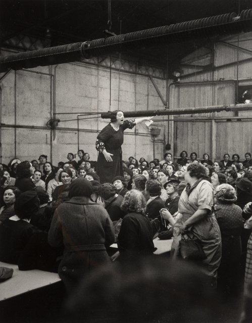 Willy Ronis, 'Shop Steward Rose Zehner Addressing Workers During the Strike at Citroën, Paris', 1938, Heritage Auctions