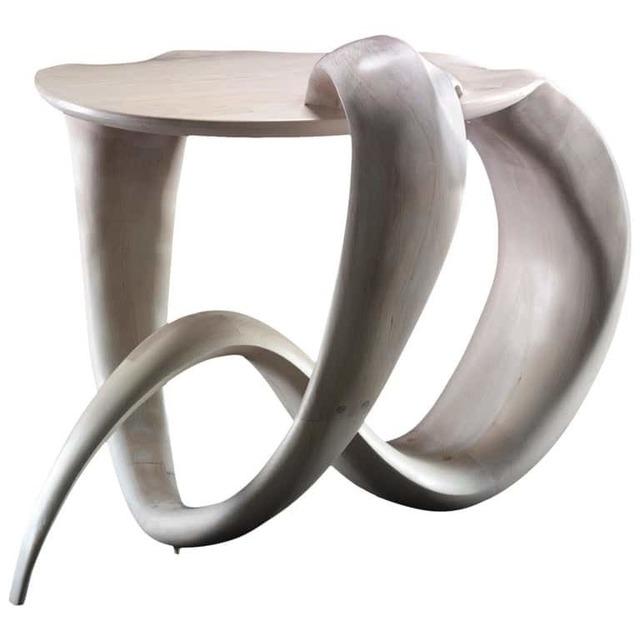 Gildas Berthelot, 'La Petite Chimère Sculpted, White Maple Gueridon Signed by Gildas Berthelot', 2019, Design/Decorative Art, Bleached Maple, Galerie Philia