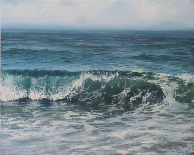"""Annie Wildey, '""""Glistening Roller"""" Oil painting of cresting wave in dark blue and green with paint splatters', 2010-2018, Eisenhauer Gallery"""