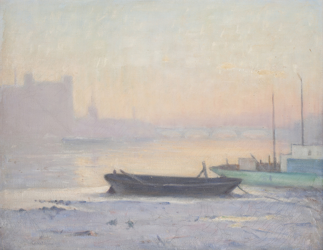 Charles Wheeler, '(Barges on the Thames, with Vauxhall Bridge in the distance)', ca. 1914, Painting, Oil on canvas, Charles Nodrum Gallery