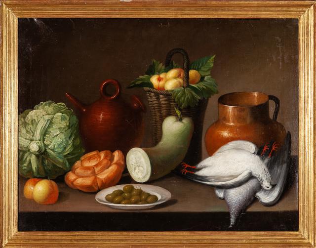 Unknown, 'Spanish School / Still life with vegetables and pigeons', XIX, Galería Marita Segovia