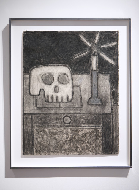 William Wright, 'Still Life with Candle, Skull and Book', 2020, Drawing, Collage or other Work on Paper, Charcoal and pastel on paper, Galerie Ariane C-Y