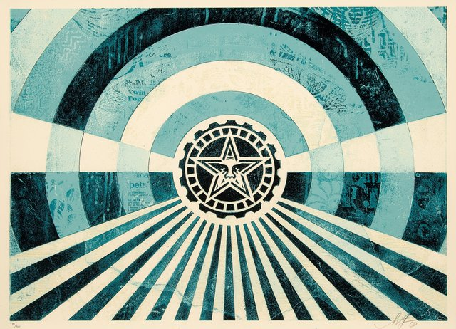 Shepard Fairey, 'Tunnel Vision Version 2 (Alternate Gold and Alternate Blue) (two works)', 2018, Heritage Auctions