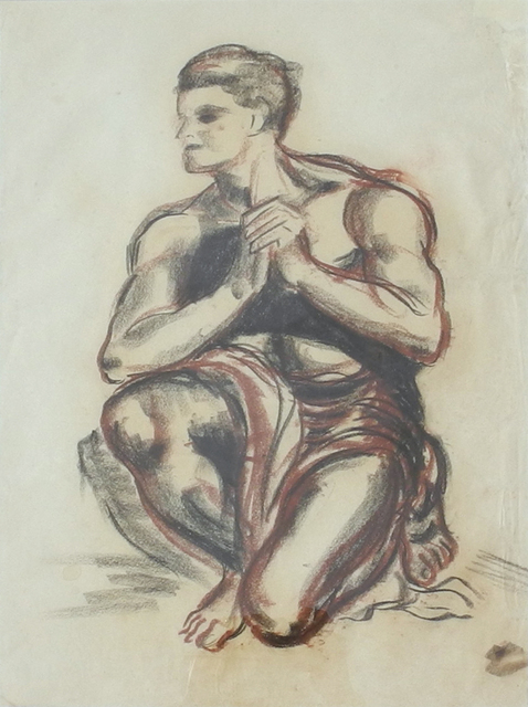 , '(Kneeling Nude – Study),' ca. 1945, Charles Nodrum Gallery