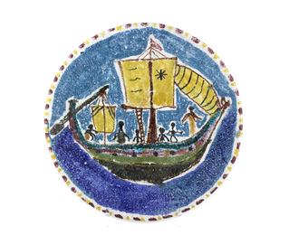 Plate with sailing ship