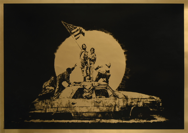 "Banksy, 'GOLD FLAG, AP ""ghetto crew ""', 2008, Digard Auction"