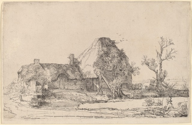 Rembrandt van Rijn, 'Cottages and Farm Buildings with a Man Sketching', ca. 1645, Print, Etching, National Gallery of Art, Washington, D.C.