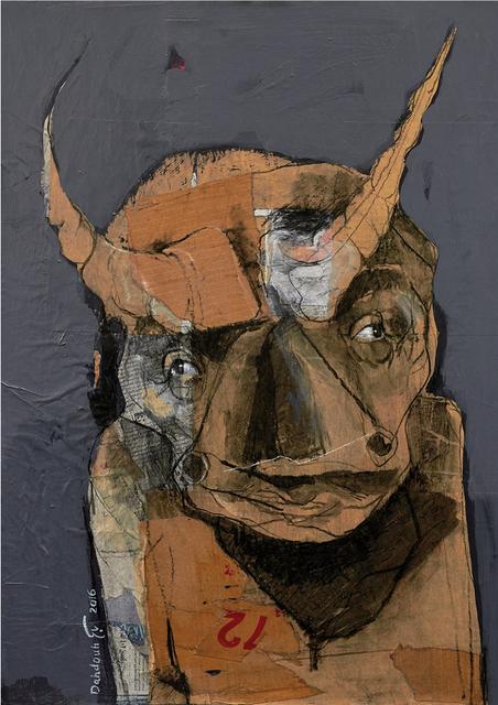 Bassem Dahdouh, 'Human Bull 3', 2016, Painting, Mixed media on canvas, Janet Rady Fine Art