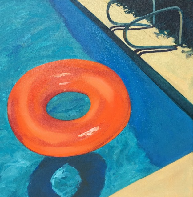 "T.S. Harris, '""Pool Floaty"" Bright Orange Tube Floating in Deep End of Blue Pool', 2010-2018, Eisenhauer Gallery"
