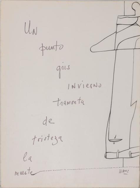 Valerio Adami, 'Un Punto Gris Invierno Tramonta De Tristeza La Muerte', Itineris