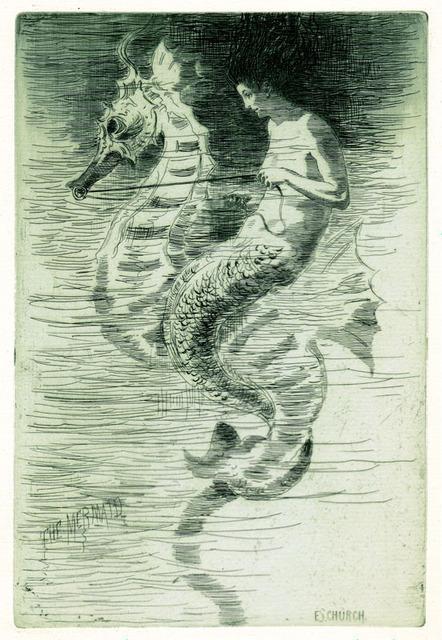 Frederick Stuart Church, 'The Mermaid', 1880, Print, Etching and aquatint, Sylvan Cole Gallery