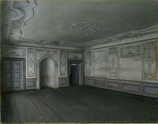 Vilhelm Hammershøi, 'Vilhelm Hammershøi, Interior of the Great Hall in Lindegaarden', 1909, Painting, Oil on canvas, Ordrupgaard